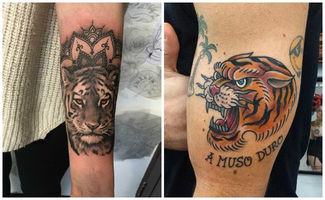 Tatuaje de tigre en mujer