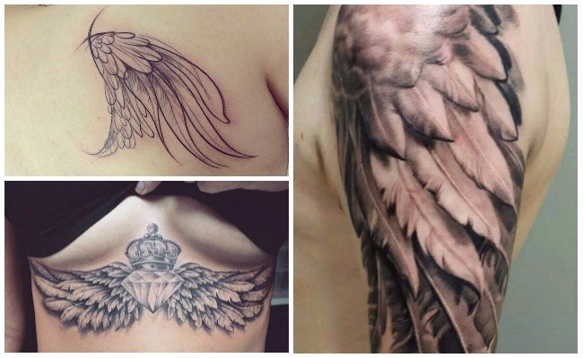 Tatuajes de alas con diamantes