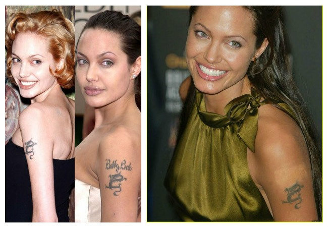 Angelina Jolie erased tattoos