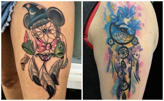 Tatuajes de atrapasueños a color