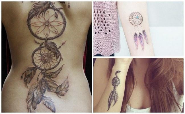 Tatuajes de atrapasueños en la espalda para mujeres