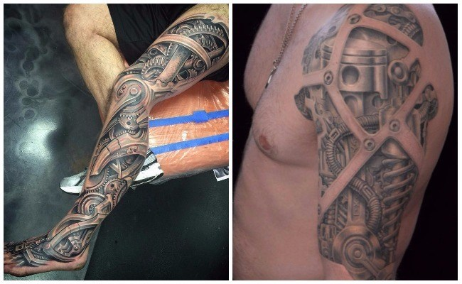 Tatuajes biomecánicos 3d en la pierna