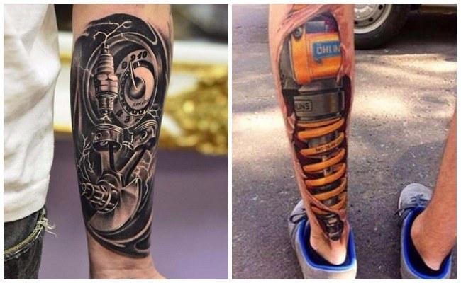 Tatuajes biomecánicos en el gemelo