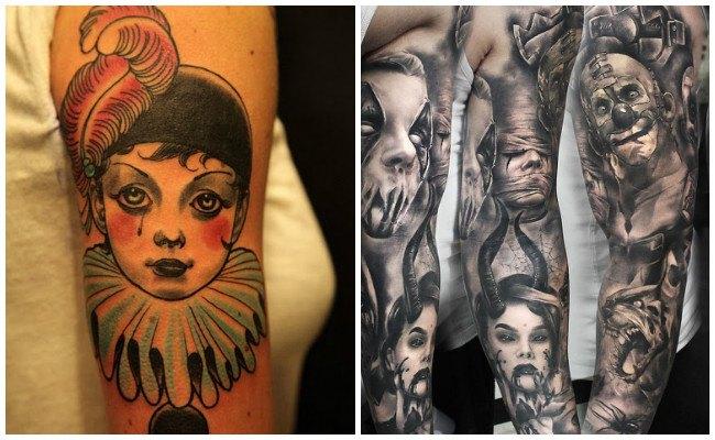 Tatuajes de de caras de payasos tristes