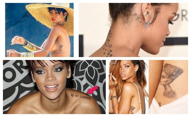 Tatuajes de Rihanna con una imagen de Cleopatra