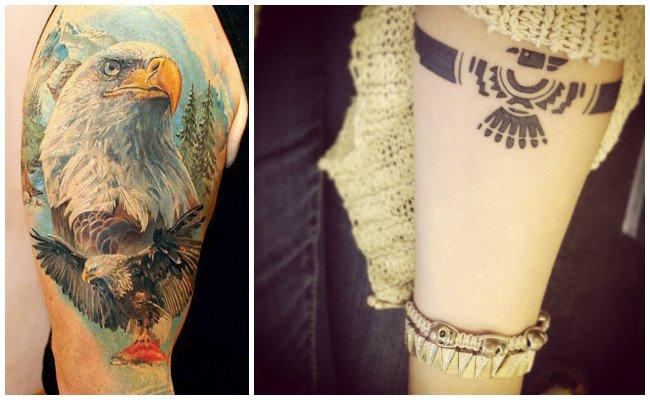 Tatuajes de águilas con banderas