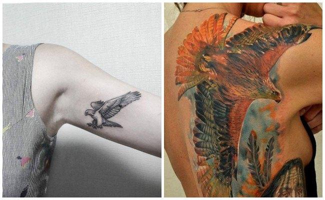 Tatuajes de águilas en el abdomen