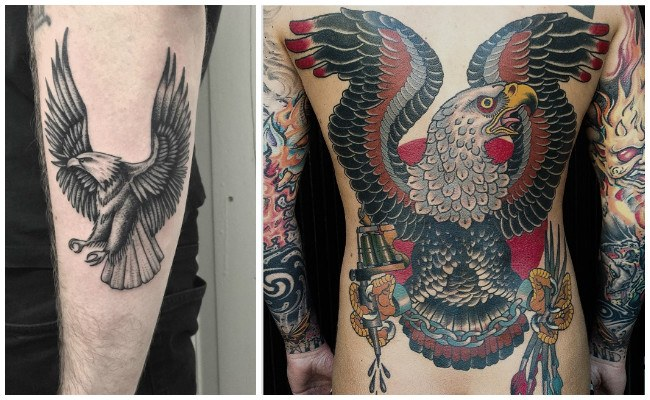 Tatuajes de águilas en el antebrazo
