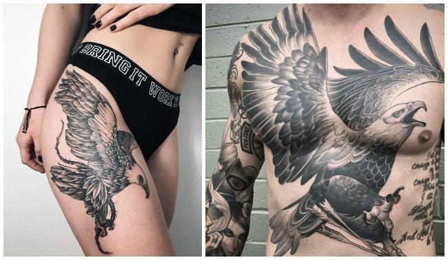 Tatuajes de águilas volando en la espalda