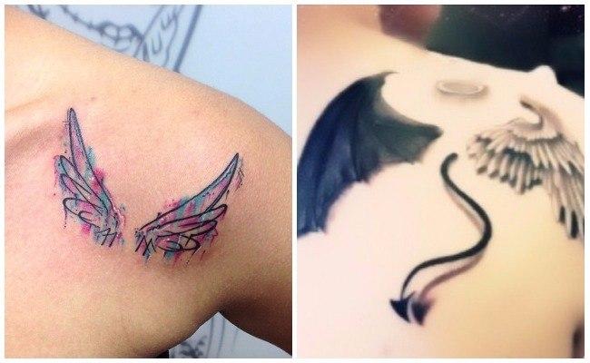 Tatuajes de alas de ángel en la espalda