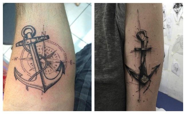 Tatuajes de ancla en acuarela