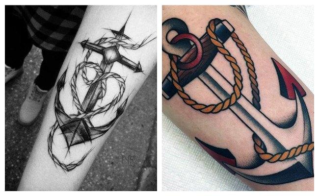 Tatuajes de anclas a color