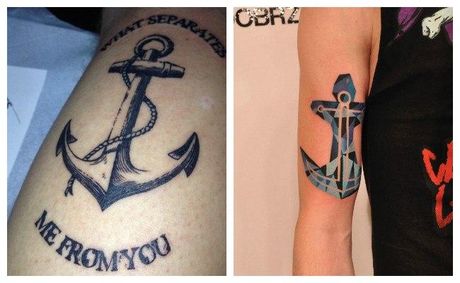 Tatuajes de anclas con lazo