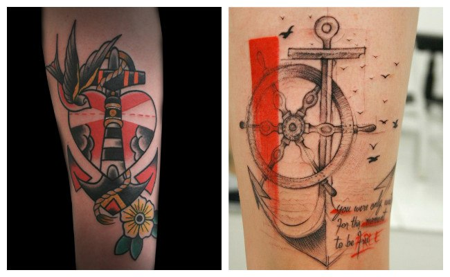 Tatuajes de anclas con rosas