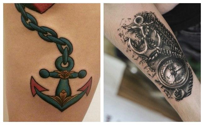 Tatuajes de anclas con corazones