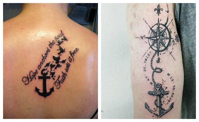 Tatuajes de anclas con fechas