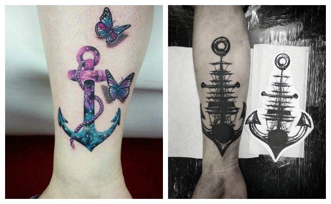 Tatuajes de anclas en el gemelo
