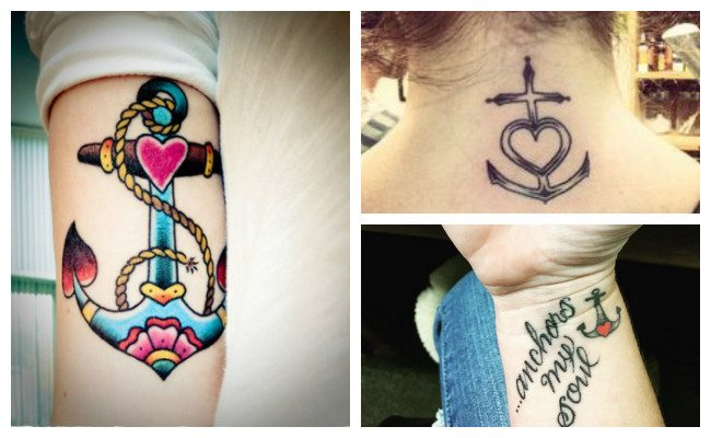 Tatuajes de anclas en la nuca