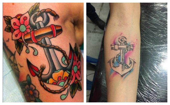 Tatuajes de anclas old school