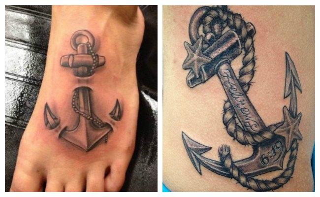 Tatuajes de anclas en el pie