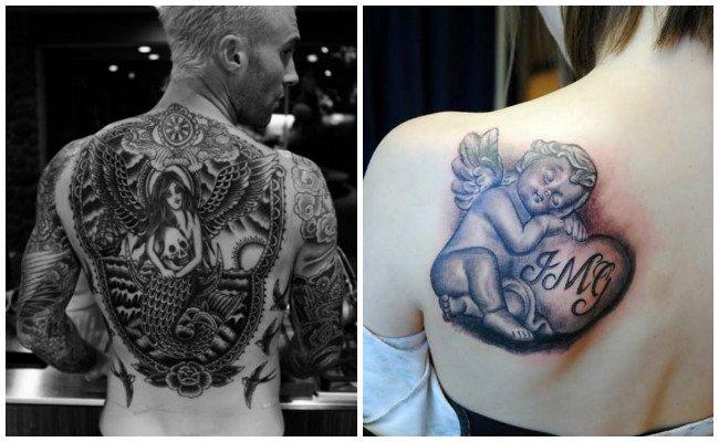 Tatuajes de ángeles en la espalda