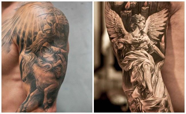Tatuajes de ángeles en la pierna