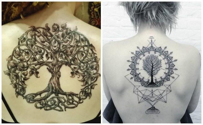 Tatuajes de árbol de la vida en la nuca