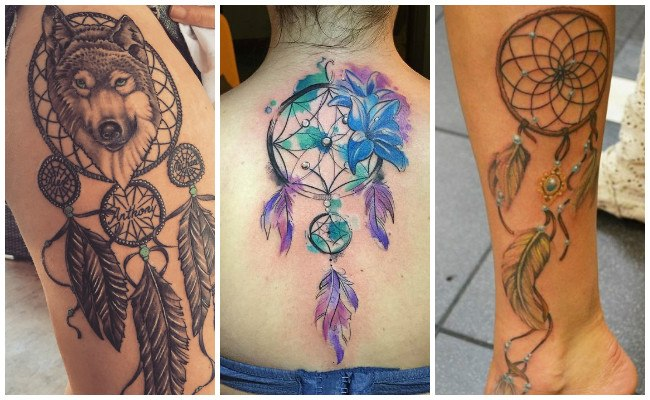 Tatuajes de atrapasueños con plumas