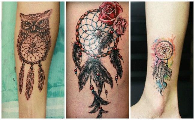 Tatuajes de atrapasueños y plumas diseños