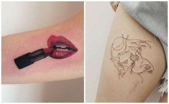 Tatuajes de besos y su significado