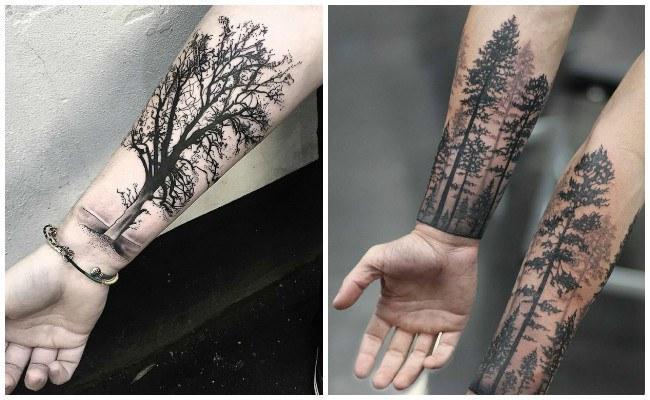 Tatuajes de bosques en hombres
