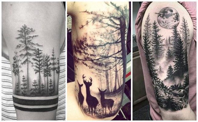 Tatuajes de bosques de pinos