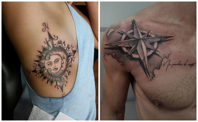 Tatuajes de brújulas antiguas