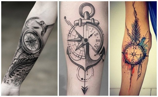 Tatuajes de brújulas en el brazo