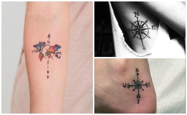 Tatuajes de brújulas en la espalda