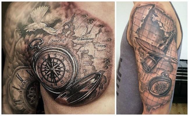 Tatuajes de brújulas y sus fotos