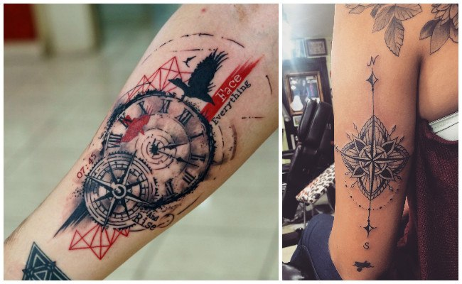 Tatuajes de brújulas con iniciales