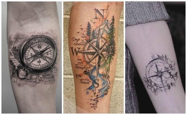 Tatuajes de brújulas marinas