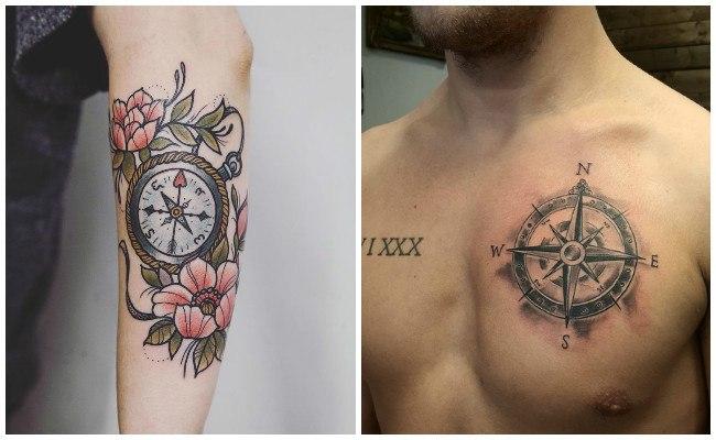 Tatuajes de brújulas en el pecho
