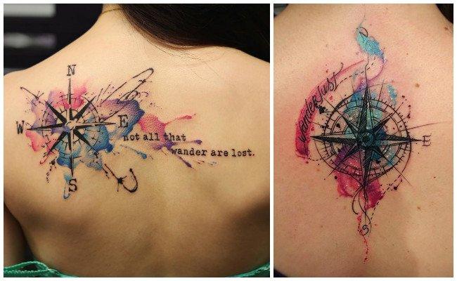 Tatuajes de brújulas con relojes