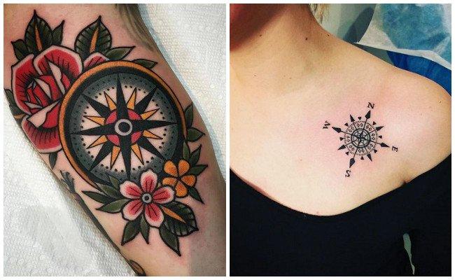 Tatuajes de brújulas con rosas