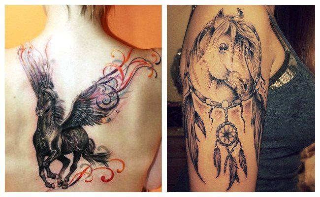 Tatuajes de caballos con atrapasueños