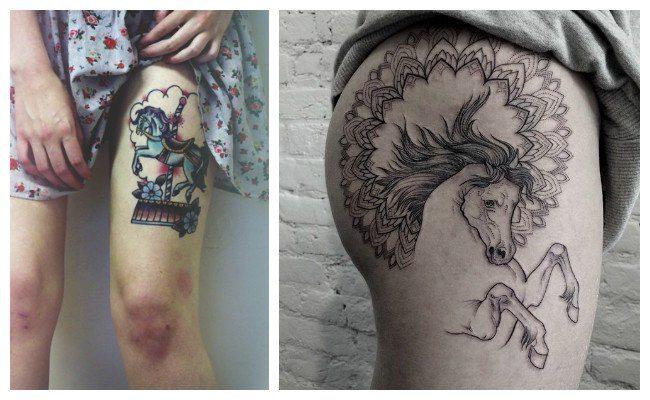 Tatuajes de caballos en la pierna