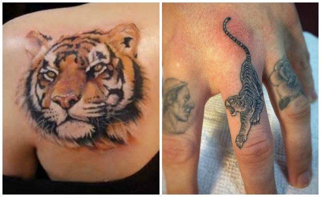 Tatuajes de caras de tigres