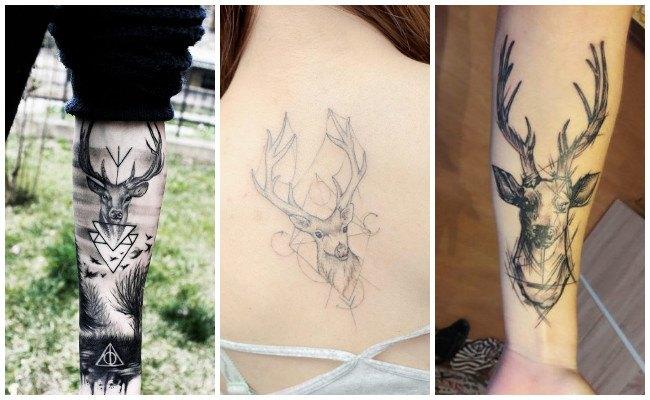 Tatuajes de ciervos en acuarela