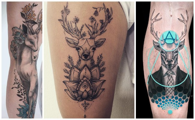 Tatuajes de ciervos con flores