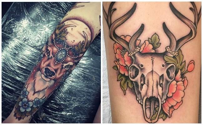 Tatuajes de ciervos en la espalda
