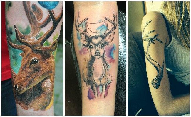 Tatuajes de ciervos hipster