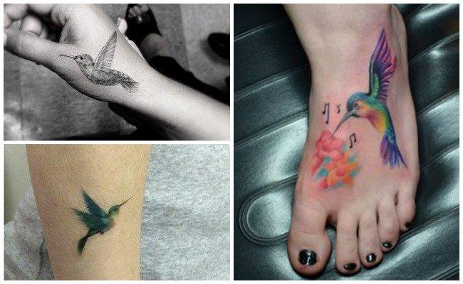 Tatuaje de colibrí en acuarela