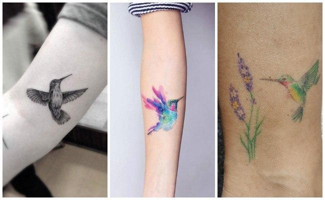 Tatuaje de colibrí en la espalda